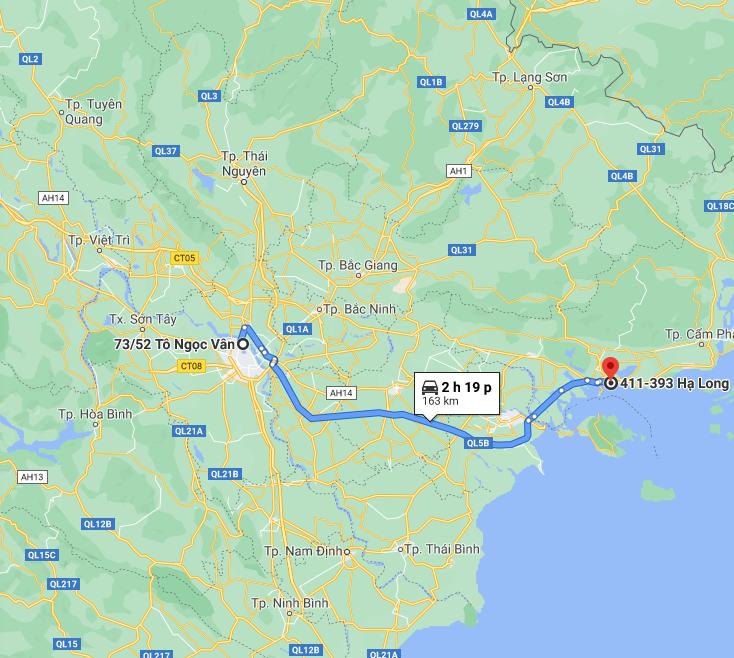 Quãng đường từ Hà Nội đến Bãi Cháy